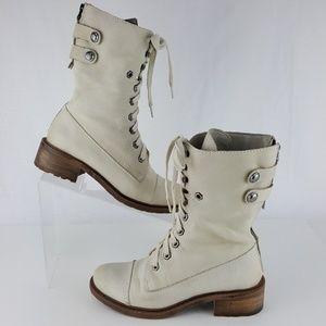 Sam Edelman Boots Ivory Leather Darwin Back Zip